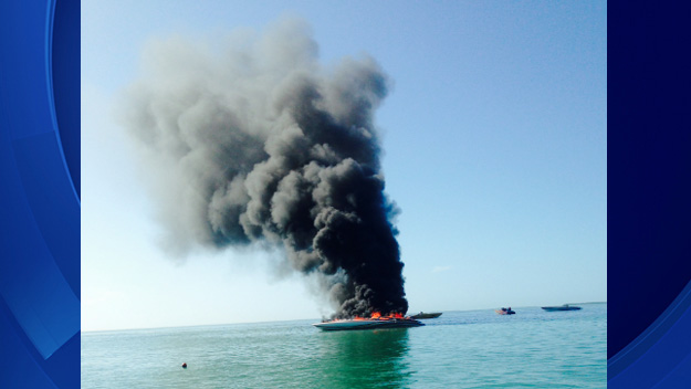 A 40-foot cigar boat burns off the Florida Keys on Nov. 6, 2014. (Courtesy: U.S. Coast Guard)